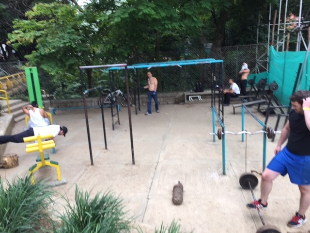 Free outdoor gyms can be found in Medellín