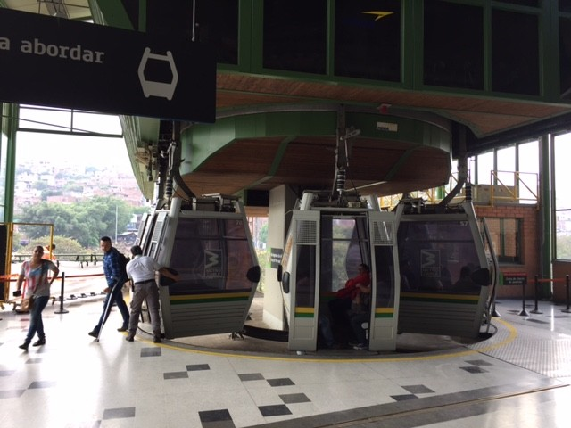Boarding the aerial tram