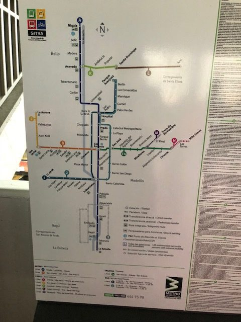 Easy to read maps of Medellín's light rail Metro System are found at all of the stations
