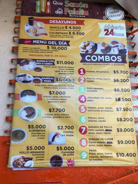 $3000 colombian pesos are one dollar. So, dive by 3000 to get the cost of a meal