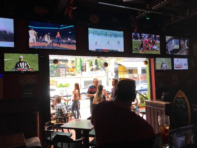Watching the NFL at a Gringo sports bar
